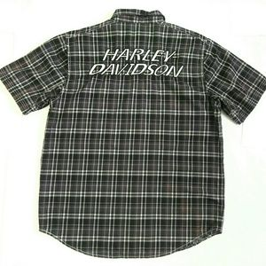 Harley Davidson Plaid Vented Button Front Shirt